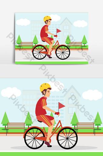 世界自行車日騎自行車保護環境矢量平面 元素 模板 AI