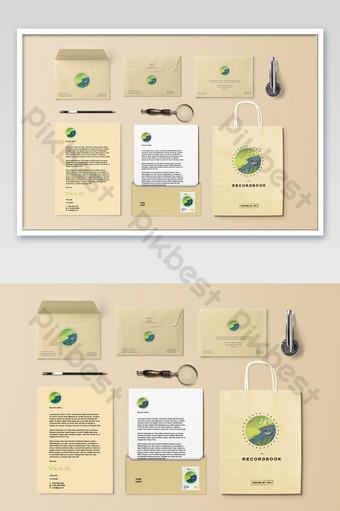 اللوازم المكتبية ورقة مغلف حقيبة يد المؤسسة السادس النموذج الأولي قالب PSD