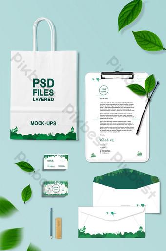 الظلام لهجة سطح المكتب الطازجة الخضراء المورقة حقيبة مغلف السادس نموذج بالحجم الطبيعي قالب PSD