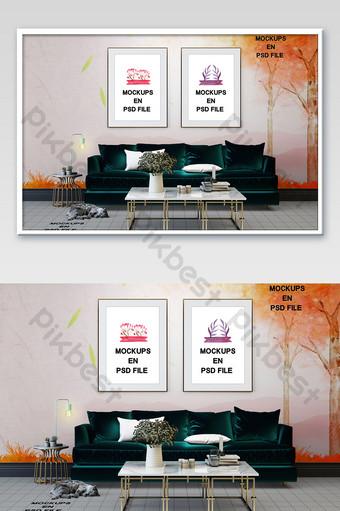 غرفة المعيشة الحديثة أريكة خضراء داكنة خلفية إطار الصورة نموذج بالحجم الطبيعي بلاط الأرضيات قالب PSD