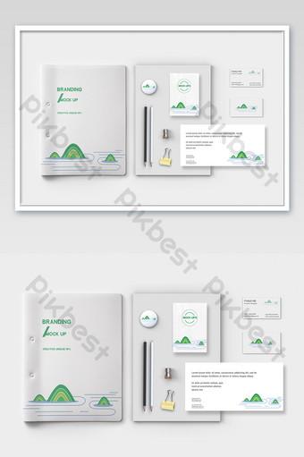 Fond blanc dossier enveloppe cahier carte de visite maquette entreprise traditionnelle VI Modèle PSD