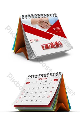 紅色幾何高端2020年鼠年商務台歷 模板 PSD