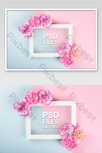康乃馨靜物粉色藍色對比相框海報樣機 模板 PSD