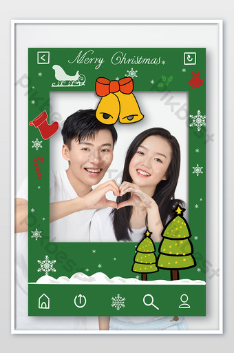 عيد الميلاد إطار الصورة يد تحمل علامة قالب PSD