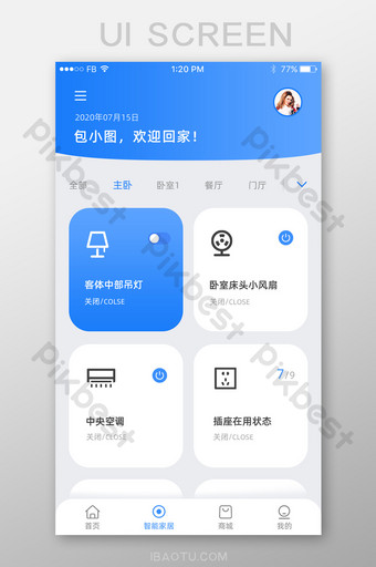 التكنولوجيا الزرقاء المتقدمة إنترنت الأشياء التطبيق واجهة نظام المنزل الذكي UI قالب PSD