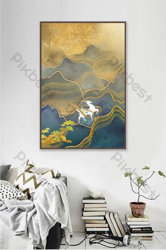 Tableau décoratif de paysage doré simple et personnalisé Décoration et modèle Modèle PSD
