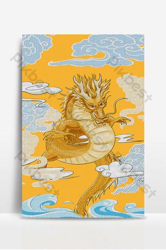 Fondo de patrón de dragón de bordado chino tradicional étnico amarillo brillante de estilo antiguo Fondos Modelo PSD