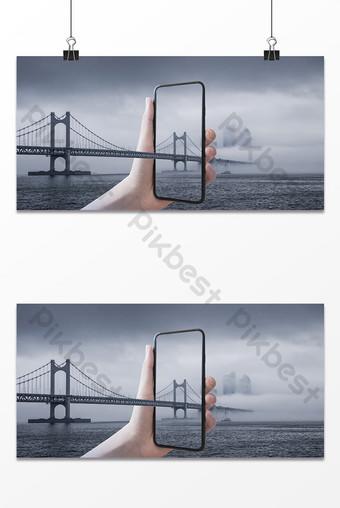 Bridge sea city mobile phone photo frame composite background Backgrounds Template PSD