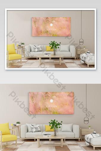 رائعة ودافئة غرفة المعيشة خلفية الجدار لافتة الديكور اللوحة بالحجم الطبيعي قالب PSD