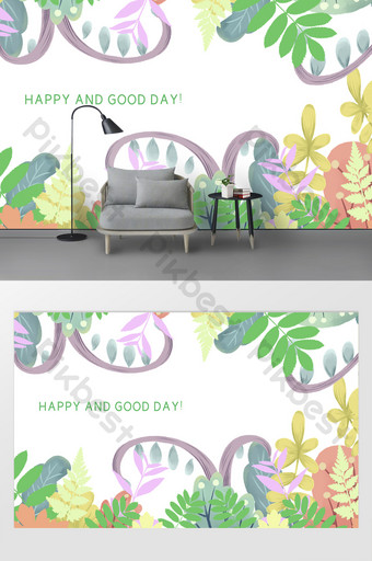 Patrón de planta verde Pequeño fondo de fondo de papel tapiz fresco Decoración y modelo Modelo AI