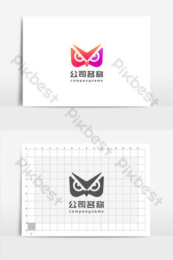 Gradiente de púrpura rojo V letra Owl Entertainment Media Industry Logo Modelo AI
