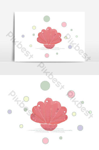 Ocean peace pearl pink seashell vector elements PNG Images Template AI