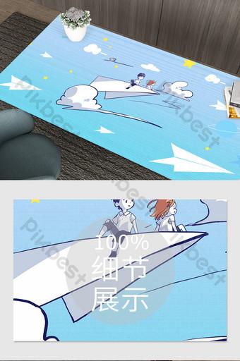 Tapis de plan de papier dégradé bleu clair Décoration et modèle Modèle PSD