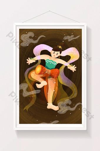 溫暖的色的神仙的平的樣式敦煌舞蹈字符例證 插畫 模板 PSD