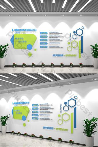 Simple Blue Corporate Mur Mural Salon Décoration de la décoration Décoration et modèle Modèle AI