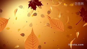 金黃色的色調秋天的落葉飄落美麗的背景,導致合成 視頻 模板 MP4