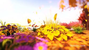 秋天的花草樹木秋葉飄落的美麗派對背景視頻 視頻 模板 MP4
