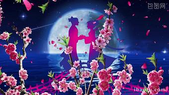 牛飼いとウィーバーガールブリッジLEDの背景にロマンチックな中国のバレンタインの日の会議 動画 テンプレート MP4