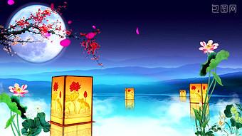 연꽃 연못 보름달 매화 랜턴 달빛 연꽃 추석 파티 비디오 템플릿 AEP