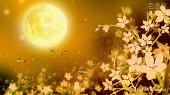 美麗的月亮在金黃色的花朵和蝴蝶的中秋LED舞台下 視頻 模板 MP4