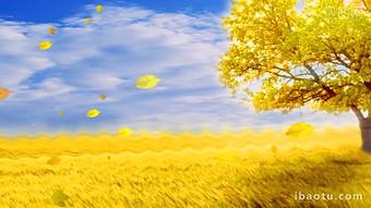 大樹飄落的樹葉風吹起秋天季節動態背景視頻 視頻 模板 MP4