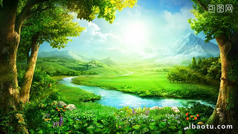 Beautiful spring green meadow flowers big tree stream water blue sky white clouds Video Template MP4