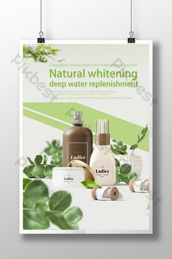 Pagpaputi ng sariwang moisturizing na disenyo ng poster ng produkto ng pangangalaga sa balat Template PSD