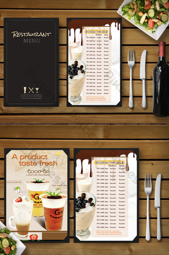 delicious milk tea shop gourmet menu design