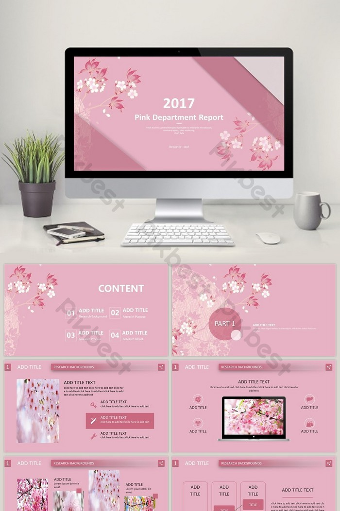 Pink Japanese Presentation Report Ppt Template Powerpoint