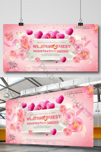 Panneau d'affichage créatif tridimensionnel haute définition de zone d'enregistrement de mariage rose clair Modèle PSD