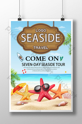 Sea beach tour poster design Template PSD