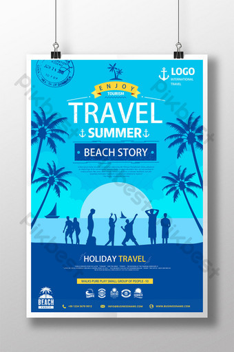 Blue seaside silhouette summer travel mobilization vacation poster Template PSD
