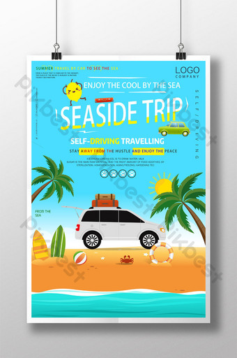 Cool summer seaside driving tour poster template download Template PSD