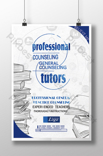 General counseling subject enrollment education poster Template PSD