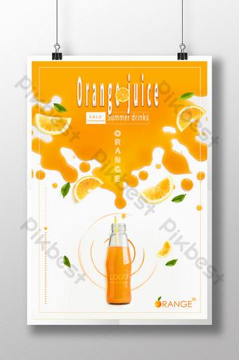 musim panas sastra segar khusus minuman jus jeruk segar poster promosi kreatif Templat PSD