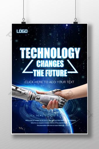 poster da inteligência artificial do futuro da tecnologia azul Modelo PSD
