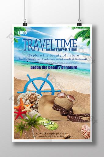 Summer seaside beach travel poster Template PSD