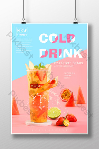poster promosi diskon kreatif jus minuman khusus musim panas sastra segar Templat PSD