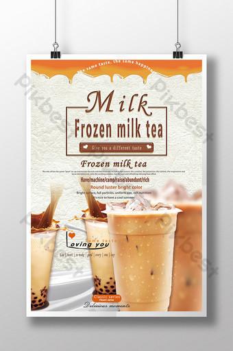poster quảng cáo đồ uống tráng miệng trà sữa đông lạnh Bản mẫu PSD
