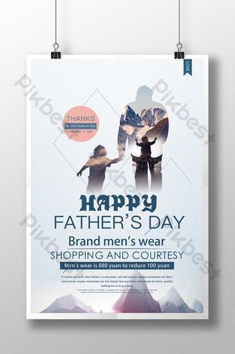 رائعة وبسيطة عيد الأب حب الأب مثل ملصق الجبل قالب PSD