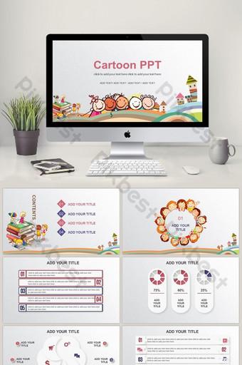 كرتون نمو التعليم ما قبل المدرسة الأطفال المعلمين يقولون الدروس ppt المناهج التعليمية PowerPoint قالب PPTX