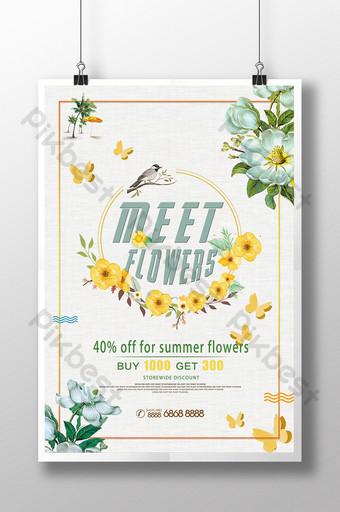 Conception de modèle d'affiche d'atelier de fleur de mode de magasin de fleur Modèle PSD