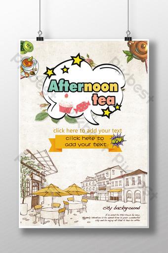 cartel gourmet de té de la tarde psd Modelo PSD