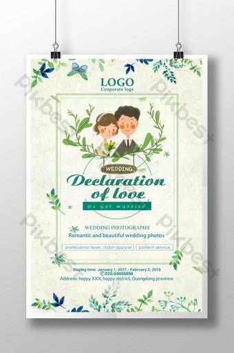 diseño de cartel de boda de declaración de amor Modelo PSD
