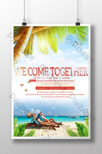 Beach tourism travel poster seaside beauty Template PSD