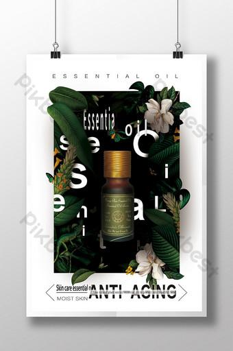 high end puro natural na pangangalaga sa balat mahahalagang poster ng langis Template PSD