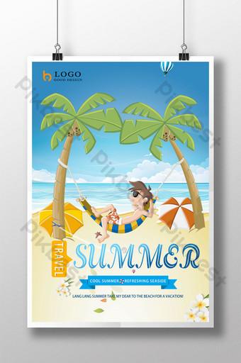 Summer beach seaside travel poster design Template PSD