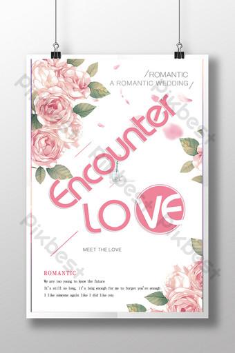 modelo de pôster de amor criativo pequeno novo casamento Modelo PSD
