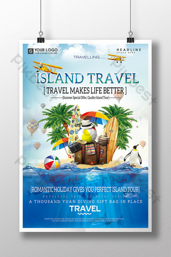 Disenyo ng poster ng turismo sa paglalakbay ng malikhaing isla Template PSD