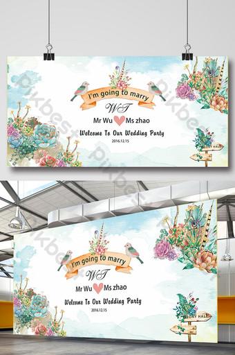 suculento tablero de anuncios de boda Modelo PSD